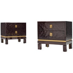 Pair of Luxurious Nightstands with Textured Lacquered Surface