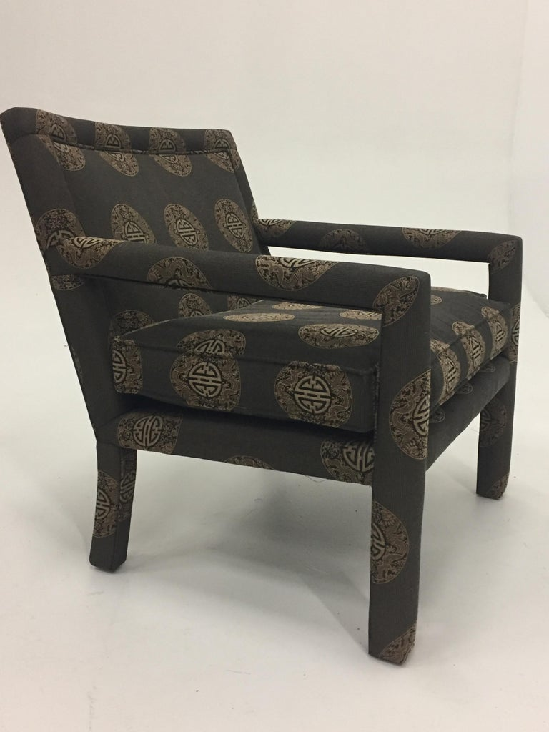 Pair of Luxurious Sleek Mid-Century Modern Upholstered Club Armchairs For Sale 4