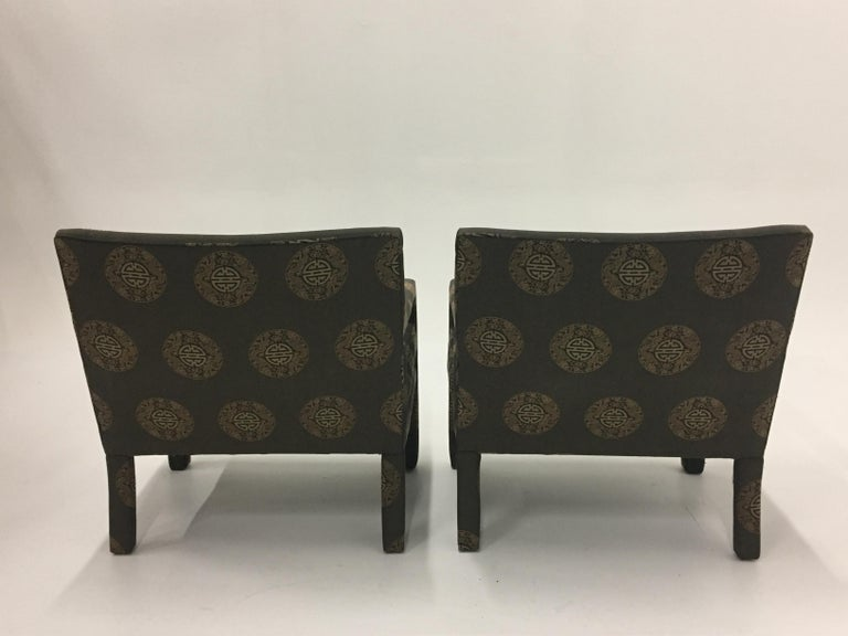 North American Pair of Luxurious Sleek Mid-Century Modern Upholstered Club Armchairs For Sale