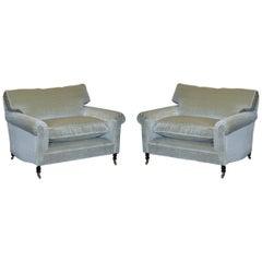 Pair of Luxury George Smith Signature Mohair Silk Velvet Love Seat Armchairs