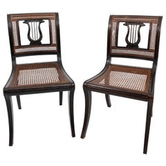 Pair of Lyre Back Caned Side Chairs