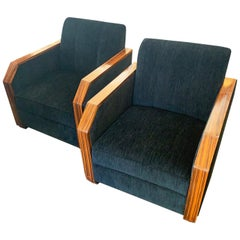 Pair of Macassar Art Deco Style Black Upholstered Armchairs Chairs