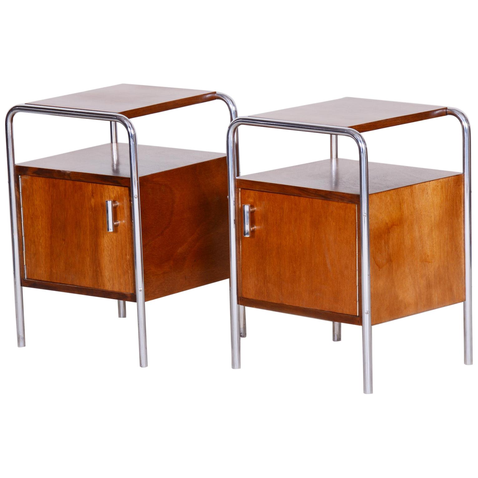 Pair of Macassar Bauhaus Bed-Side Tables by Robert Slezak, Czechoslovakia, 1930s