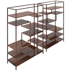 Pair of Macassar Design Shelves