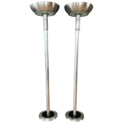 Pair of Machine Age Aluminum Torchiere Floor Lamps in the Style of Russel Wright