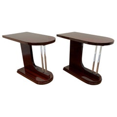 Pair of Machine Age Art Deco Bullet Side Tables in Mahogany with Glass Elements