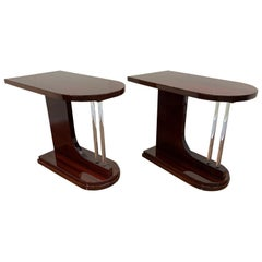 Pair of Machine Age Art Deco Bullet Side Tables with Solid Glass Rod Circa 1930s