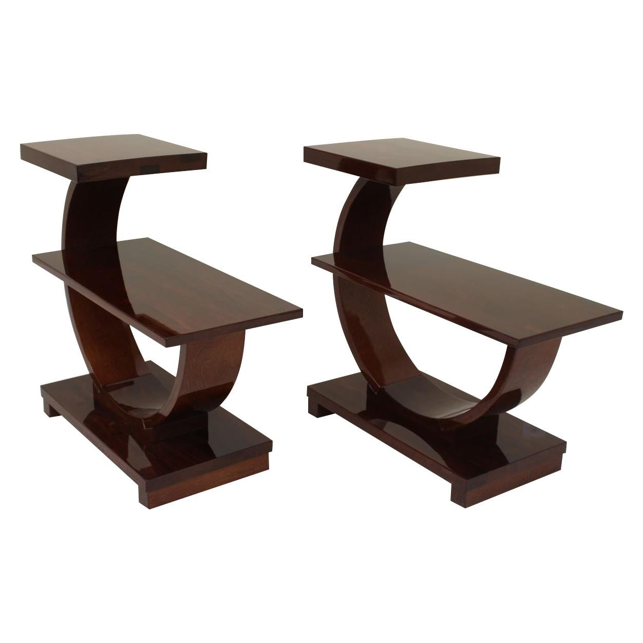Pair of Machine Age Art Deco Curving End Tables by Modernage Furniture Company