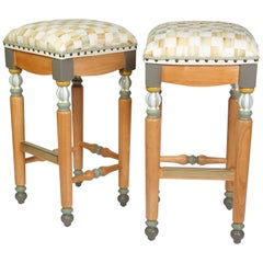 Pair of Mackenzie Childs Painted Upholstered Stools