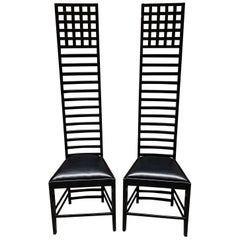 Pair of Mackintosh High Back Chairs, 1980s