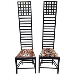 Pair of Mackintosh High Back Chairs with Printed Fur Seat, 1980s