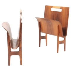 Pair of Magazine Stands in Rosewood and Cane by Aksel Larsen & Bender Madsen