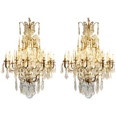 Pair of Magnificent Continental Ormolu and Polished Baccarat Crystal Chandeliers
