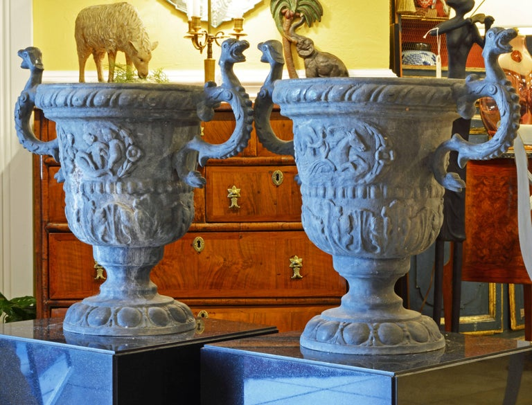 Neoclassical Pair of Magnificent English Late Georgian Serpent Handled Lead Urns or Planters