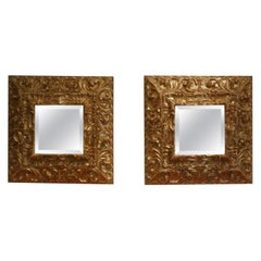 Pair of Magnificent Spanish Baroque Giltwood Mirrors
