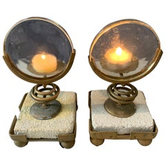 Pair of Magnifying Candleholders on Stone and Metal Stand
