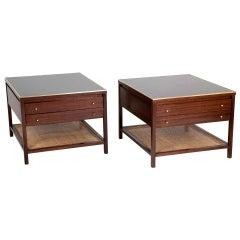 Pair of Mahogany and Brass Side Tables Designed by Paul McCobb