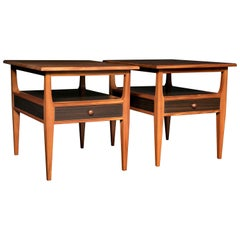 Pair of Mahogany and Fumed Oak Side Tables/Nightstands with Drawer & Shelf