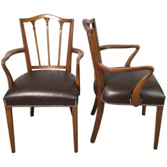Pair of Mahogany and Leather Hepplewhite Stuye Armchairs