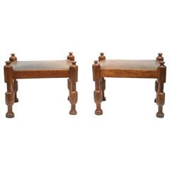 Pair of Mahogany and Leather Stools