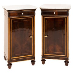 Pair of Mahogany and Marble Louis Philippe Nightstands, Mid-19th Century