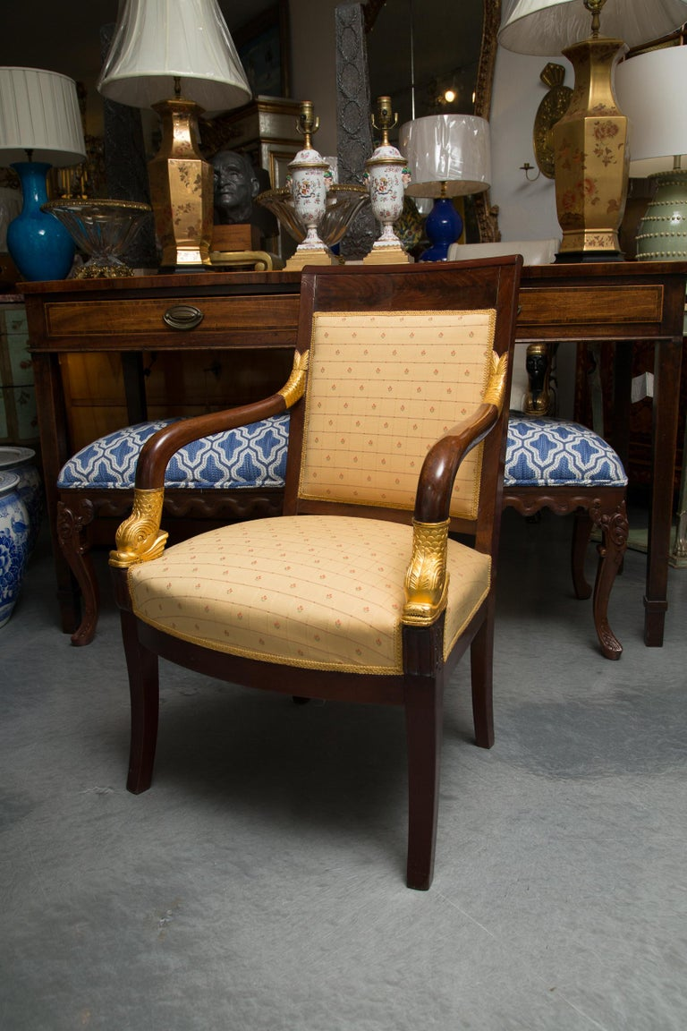 Pair of Mahogany and Parcel Gilt French Empire Style Armchairs For Sale 5