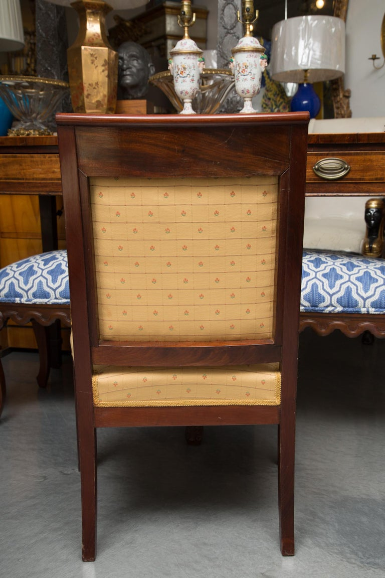 Pair of Mahogany and Parcel Gilt French Empire Style Armchairs For Sale 7