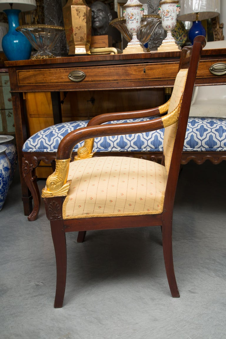 Lacquered Pair of Mahogany and Parcel Gilt French Empire Style Armchairs For Sale