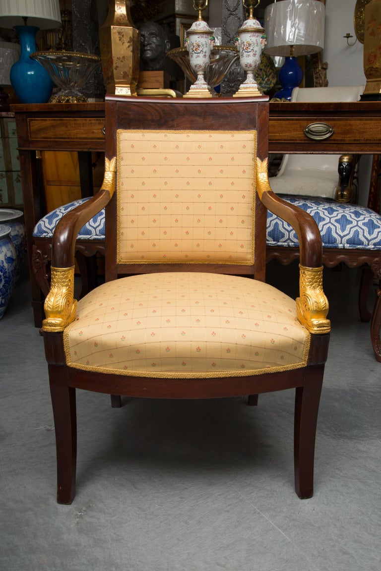 20th Century Pair of Mahogany and Parcel Gilt French Empire Style Armchairs For Sale