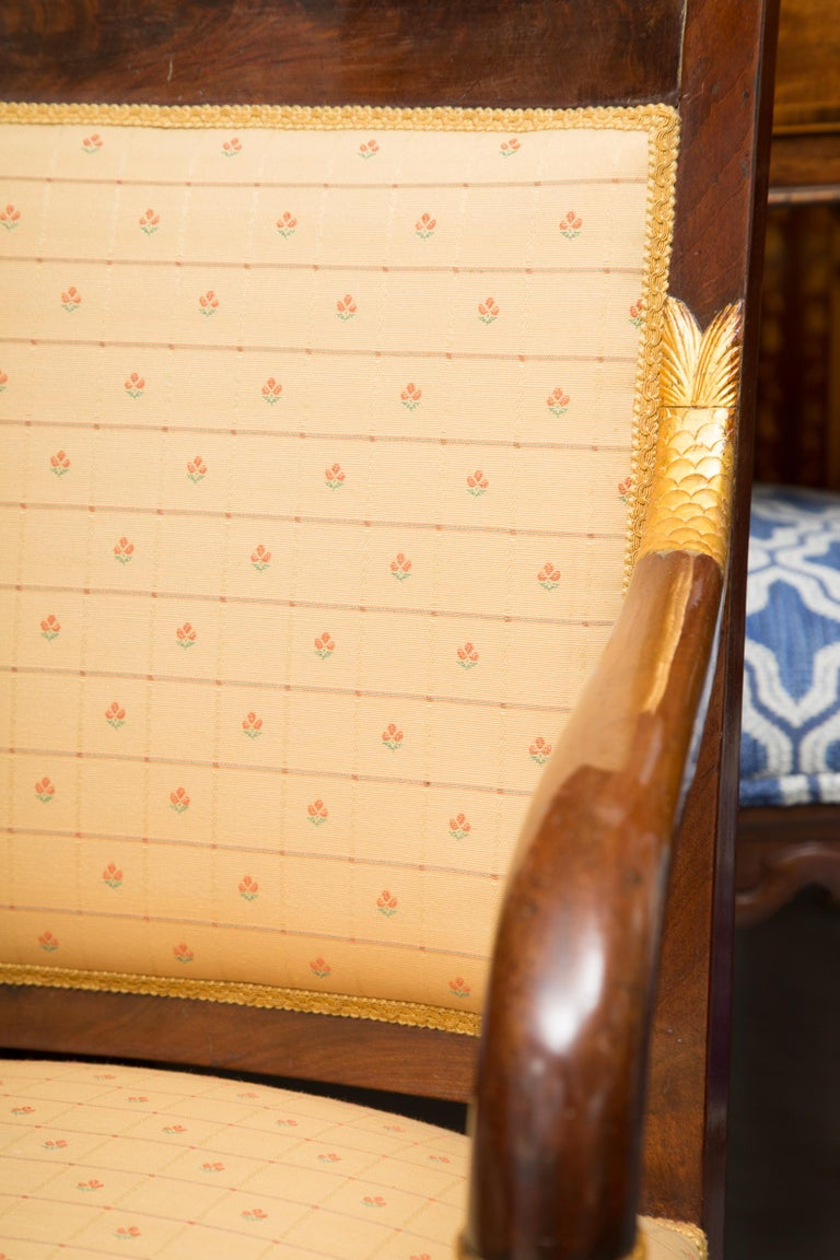 Pair of Mahogany and Parcel Gilt French Empire Style Armchairs For Sale 2