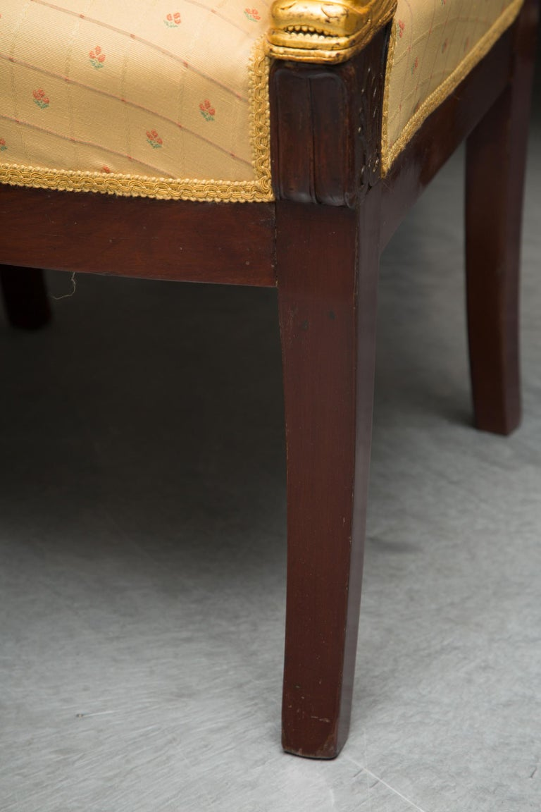 Pair of Mahogany and Parcel Gilt French Empire Style Armchairs For Sale 4