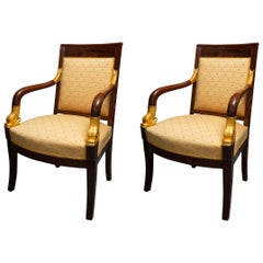 Pair of Mahogany and Parcel Gilt French Empire Style Armchairs