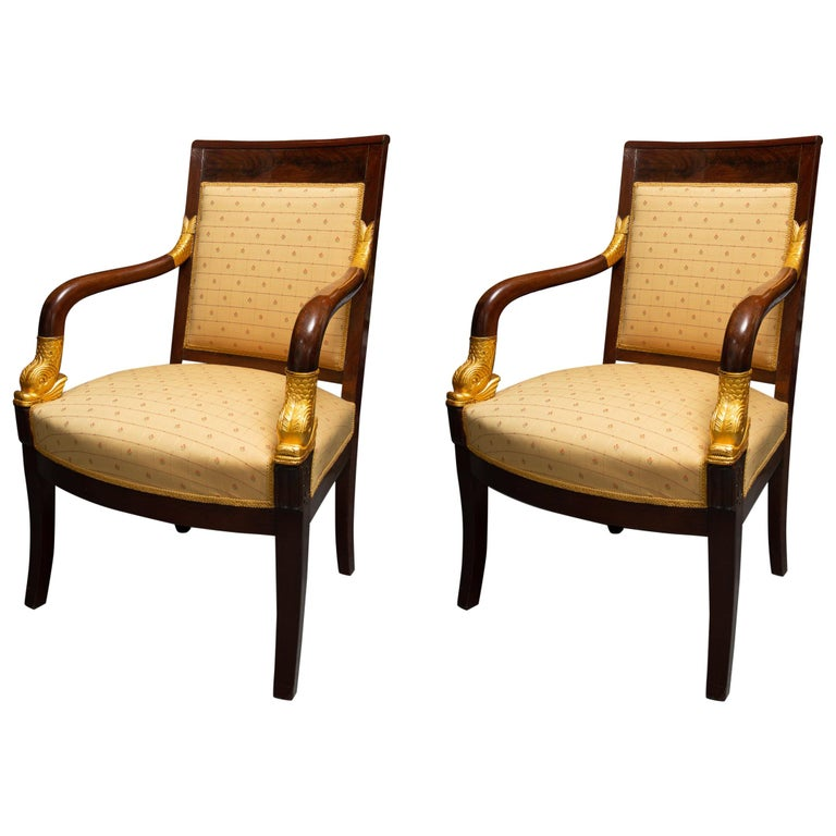 Pair of Mahogany and Parcel Gilt French Empire Style Armchairs For Sale