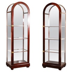 Pair of Mahogany Arched Narrow Glass Italian-Made Vitrine China Display Cabinets