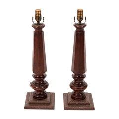 Pair of Mahogany Architectural Table Lamps