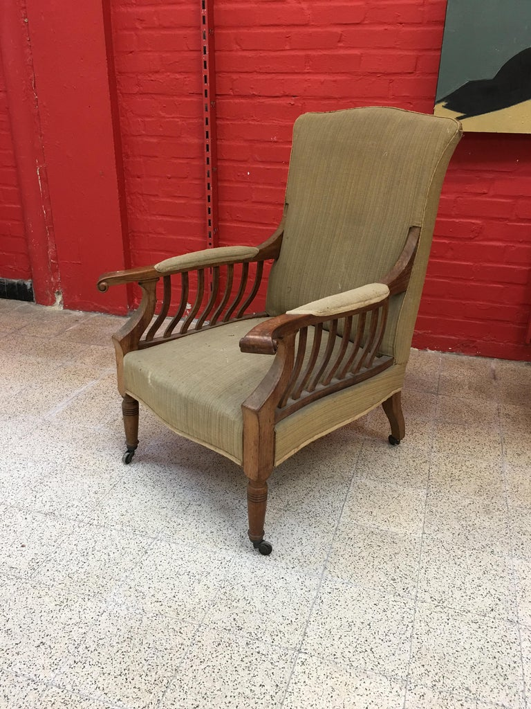 Upholstery Pair of Mahogany Armchairs Arts & Crafts, circa 1900 For Sale