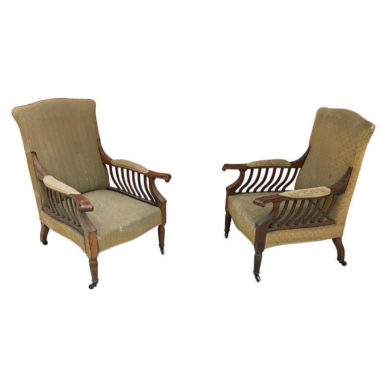 Pair of Mahogany Armchairs Arts & Crafts, circa 1900 For Sale