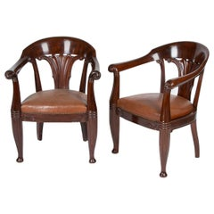 Pair of Mahogany Armchairs by Rad. Rasmussen, Design Attributed to Johan Rohde