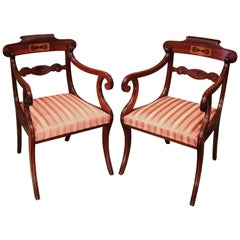 Pair of Mahogany Armchairs, Early 19th Century Regency Period