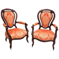 Pair of Mahogany Armchairs from circa 1880, after Renovation