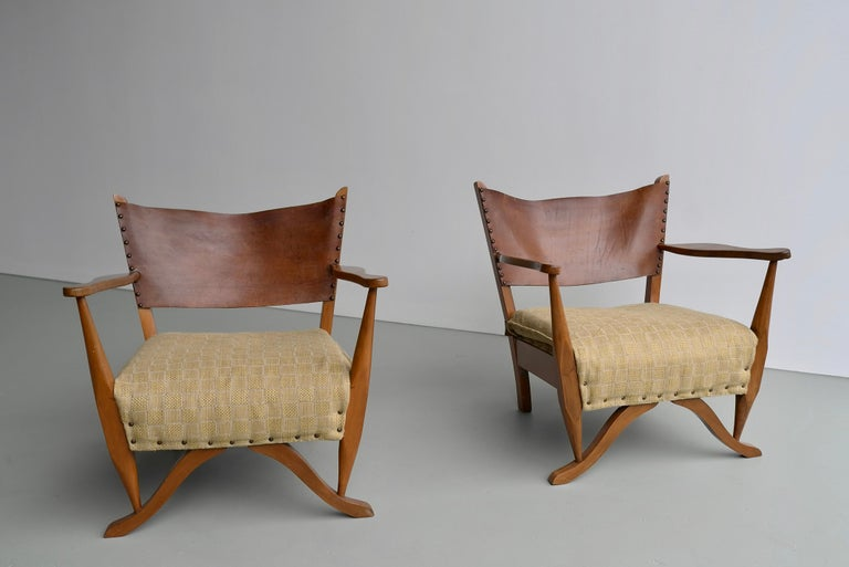 Mid-Century Modern Pair of Mahogany Armchairs with Natural Sling Leather Back, Denmark, 1960s For Sale