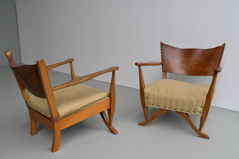 Danish Pair of Mahogany Armchairs with Natural Sling Leather Back, Denmark, 1960s For Sale