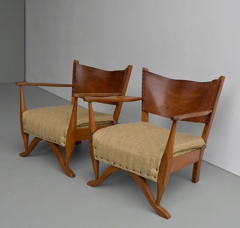 Pair of Mahogany Armchairs with Natural Sling Leather Back, Denmark, 1960s In Good Condition For Sale In The Hague, NL