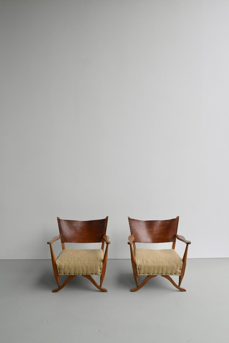 20th Century Pair of Mahogany Armchairs with Natural Sling Leather Back, Denmark, 1960s For Sale