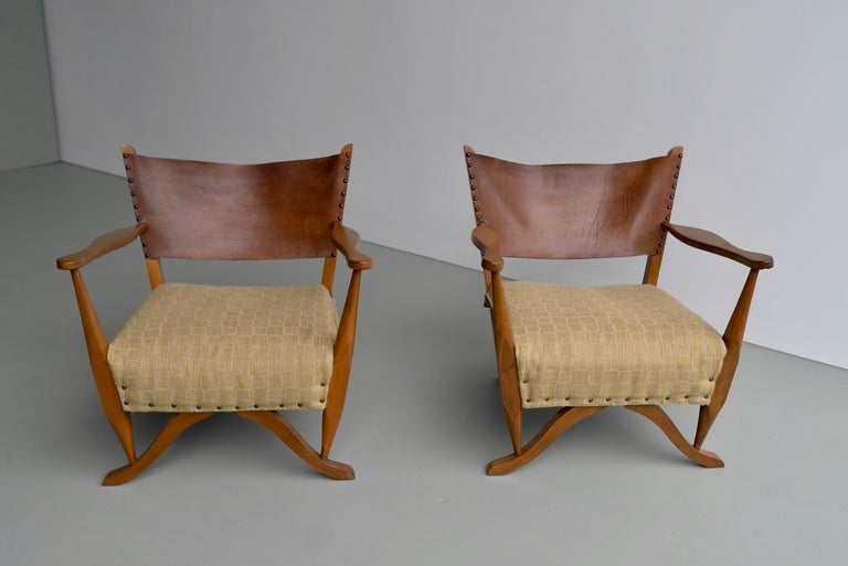 Pair of Mahogany Armchairs with Natural Sling Leather Back, Denmark, 1960s For Sale 3