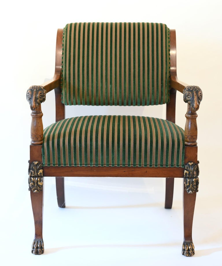 Pair of mahogany armchairs with ram heads, end of 18th century, Baltic