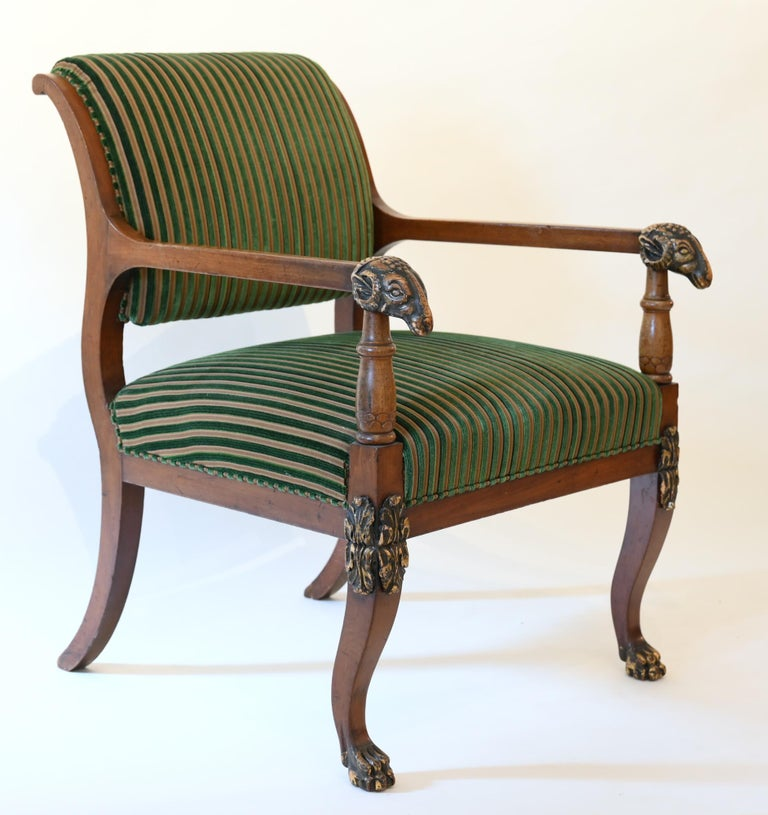 Fabric Pair of Mahogany Armchairs with Ram Heads, End of the 18th Century, Baltic For Sale