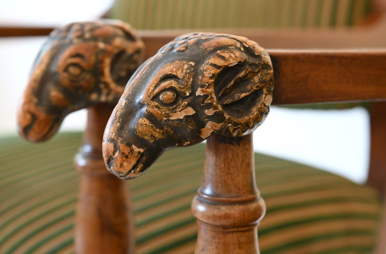 Pair of Mahogany Armchairs with Ram Heads, End of the 18th Century, Baltic For Sale 2