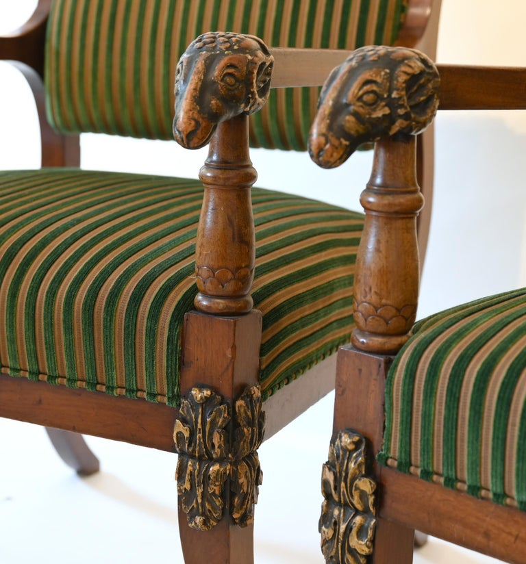 Pair of Mahogany Armchairs with Ram Heads, End of the 18th Century, Baltic For Sale 4
