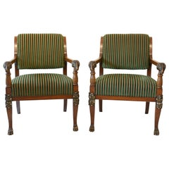 Pair of Mahogany Armchairs with Ram Heads, End of the 18th Century, Baltic